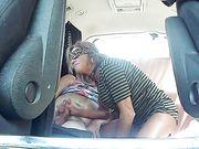 Blindfolded slut wife sucking and fucking stranger bareback in car