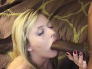 Slut blonde wife sucking massive black cock in front of husband