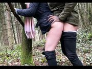 Outdoor interracial sex and cum on butt with her black partner