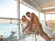 Interracial sunset shag mixed couple fantastic fornicating on the porch